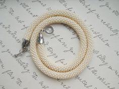 Ivory Necklace Ivory Bracelet Cream Beaded Rope by goodhandSakura