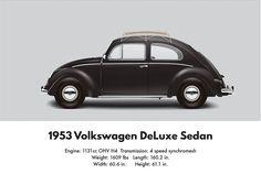 1953 Volkswagen Sedan - Black Digital Art