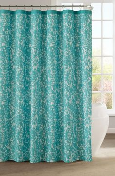 Blue And Yellow Floral Shower Curtain
