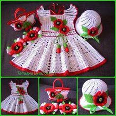 Baby Crochet Patterns Part 34 - Beautiful Crochet Patterns and Knitting Patterns Crochet Baby Dress Free Pattern, Baby Dress Patterns, Baby Girl Crochet, Crochet Baby Clothes, Baby Knitting Patterns, Crochet For Kids, Crochet Patterns, Crochet Crafts, Crochet Projects