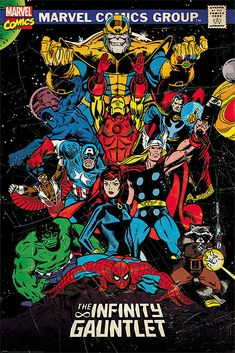 MARVEL HEROES - COMIC POSTER / PRINT (COMIC COVER - THE INFINITY GAUNTLET)