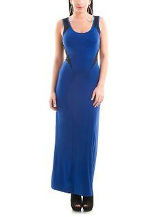 dots: Mesh Colorblock Tank Maxi Dress