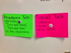 Social Talk vs. Academic Talk: Make sure your students know the difference.