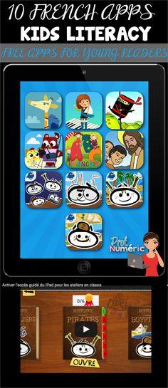 10 FRENCH APPS-Kids Literacy//Free Apps for young readers. 10 Applications gratuites pour les jeunes lecteurs débutantes.