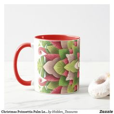 Christmas Poinsettia Palm Leaves Mandala Mug Christmas Mandala, Christmas Poinsettia, Making Out, Keep It Cleaner, Holiday Cards, Create Your Own, Palm, Monogram