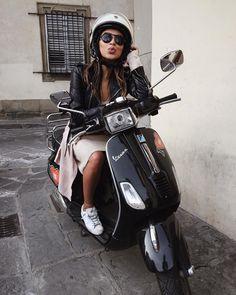 """First time riding a Vespa! ❤️"""