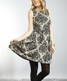 Take a look at this Cream & Black Sleeveless Dress - Women by Young Threads on #zulily today! $25 !!