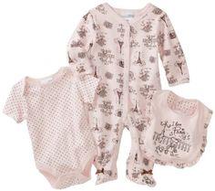 Amazon.com: Vitamins Baby Girl Newborn I Love Paris Toile Three-Piece Footed Coverall Set: Baby