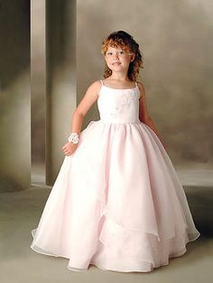 Inexpensive Lovely Flower Girl Dress of Ivory Organza as Underskirt in Floor Length