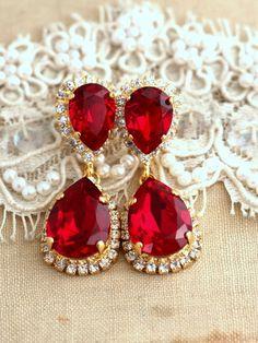 Ruby Chandelier earrings Red Ruby earrings Bridal Ruby Ruby Jewelry, Ruby Earrings, Stone Earrings, Bridal Earrings, Jewelery, Dangle Earrings, Diamond Earrings, Turquoise Jewellery, Bridal Jewelry