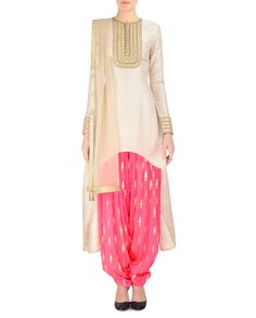 PAYAL SINGHAL Stone Gray and Candy Pink Patiala Suit with Pine Motifs