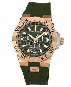 Vince Camuto Men's Green Silicone Strap Watch 43mm VC-1010GRRG