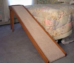 Wooden Dog/Cat Ramps For Bed or Sofa Made up of Oak Wood 16 Inches with Wide Normal Slope Cat Ramp, Dog Ramp For Bed, Dog Stairs, Wooden Tv Stands, Small Space Storage, Wood Dog, Wood Detail, Pet Furniture, Wood Beds