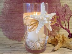Beach Wedding Starfish Candle Vase Centerpiece, set of 10. $210.00, via Etsy.