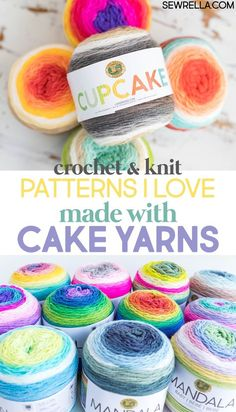 Crochet Patterns Ideas The options might as well be endless when it comes to cake yarns made by Lion Brand. They have three different collections of color schemes, and they are all so gorgeous! So here are some pattern ideas for the cake yarn frenzy! Caron Cake Crochet Patterns, Caron Cakes Crochet, Crochet Cake, Crochet Crafts, Knitting Patterns, Crochet Ideas, Crochet Food, Crochet Things, Diy Crafts