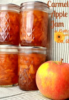 Carmel Apple Jam Recipe.... My tweak..4C apples, 2C sugar, 1 1/3C brown sugar, 1/3C H2O, cinnamon,nutmeg 3tbs pectin.  I like to soften the apples on the stove first with some water, then add  3tbs pectin, 4C apples to jam make, with water, butter. After beep add sugars and spices then let the make do the rest