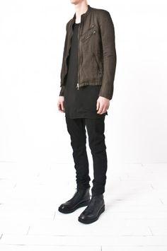 julius_7 - cotton & linen satin moto jacket — re. porter