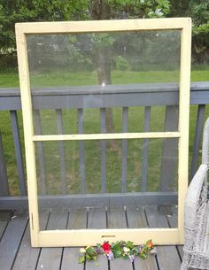 Vintage Wood Window, Two Pane, Window Frame, YELLOW Decor, Urban Decor, Antique Window Frame, Farmhouse Antiques, Country Wedding Decor 157