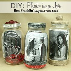 DIY: Photo in a Mason Jar - Tutorial available HERE! #craft #valentine