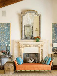 Opt for antique limestone or reproduction cast-concrete mantels to introduce a sense of age to Tuscan, Spanish, and French interiors. A distressed patina, raised motifs, and crown molding details make this memorable mantel pop from its similarly glazed backdrop, a stony slab that amplifies the structure's visual impact and physical presence.