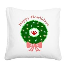 Happy Howlidays Square Canvas Pillow