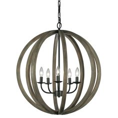The Allier 5 Light Pendant Light is named after a French forest where the wood is commonly used for wine barrels.