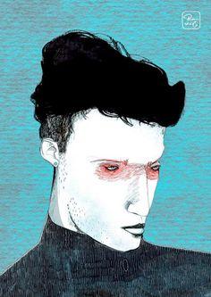 Vencejo   Ilustración por Bran Sólo (www.bransolo.com)  Retrato masculino, ilustración, acrílico, original, hombre, dibujo, pintura, retrato, mar, sea, man, men, drawing, illustration, painting, portrait