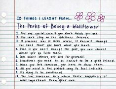 10 things I've learned from 'The Perks of being a Wallflower.'