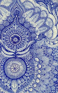 homebuildlife:  A beautiful handmade pattern inspired by black and white engravings but in a cobalt blue version. Image via tournesol50.tumb...