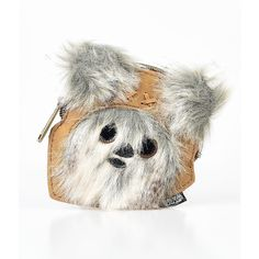 Leatherette Star Wars Ewok Coin Purse ($20) ❤ liked on Polyvore featuring bags, wallets, brown, zip top bag, brown bag, pouch bag, change purse and pouch wallet
