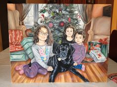 Portrait of Zuko and his girls, oil painting on canvas