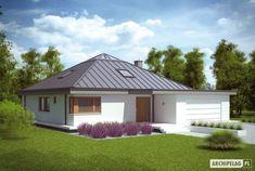 Projekt domu Lorena G2 - wizualizacja frontowa Bamboo Construction, Bungalow House Design, Design Case, Gazebo, House Plans, Shed, Villa, Outdoor Structures, How To Plan