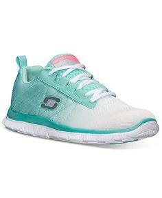 Skechers Women's Shoes Flex Appeal Memory Foam Running Sneakers from Finish Line mesh white/mint sz7.5 49.98