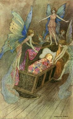 Blue winged fairy fairies over newborn baby sleeping in rocking cradle ,And sweetly singing round about thy bed, Strew all their blessings on thy sleeping head. - illustration by Warwick Goble to Good Luck befriend thee by John Milton Warwick Goble, Fairy Dust, Fairy Tales, Art And Illustration, Book Illustrations, Arte Fashion, Vintage Fairies, Baby Fairy, Fairytale Art
