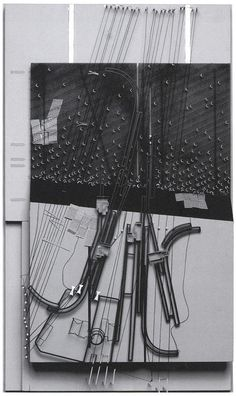 Smout Allen, 1:500 model proposal for Happisburgh, Norfolk which is being eroded by the sea. The model shows their proposal for a moveable village on tracks, its trajectory and the tracings of its former settlements indicated by strings. From Pamphlet Architecture no.28, Augmented Landscapes.