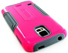 Amazon.com: myLife (TM) Cool Gray and Shocking Pink - Neo Hybrid Series (Built In Kickstand) 2 Piece + 2 Layer Case for NEW Galaxy S5 (5G) S...
