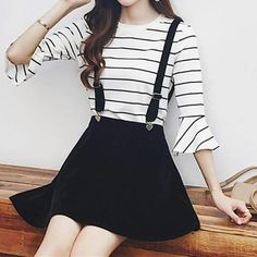 Black Preppy Style Velvet Suspender Skirt Source by abbylistis Fashion outfits Teen Fashion Outfits, Girly Outfits, Cute Casual Outfits, Outfits For Teens, Pretty Outfits, Cute Outfits With Skirts, Korean Outfits Cute, Tumblr Outfits, Mode Outfits