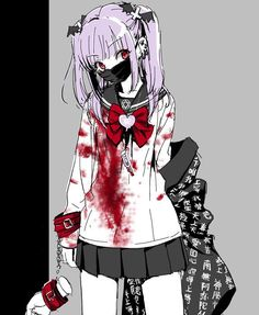 """drew this in februaryyy "" Yandere Girl, Yandere Anime, Anime Chibi, Manga Anime, Anime Art Girl, Anime Guys, Blood Art, Evil Art, Gothic Anime"