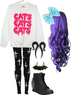 """Pastel Goth Outfit"" by tatummichelle on Polyvore I NEED this whole outfit. Plz. I'm going to start looking.."