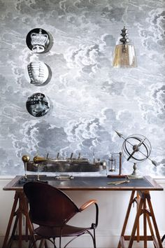 Fornasetti Cole & Sons etched clouds wallpaper