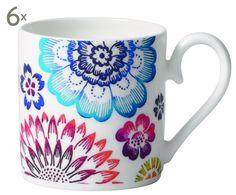 Set di 6 tazze in porcellana multicolor Bloom, 100 ml   Dalani Home & Living