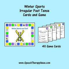 Winter Sports Irregular Verb Tense Cards and Game Speech Therapy Games, Therapy Activities, Therapy Ideas, Irregular Past Tense, Irregular Verbs, Verb Tenses, Picture Cards, Winter Sports, Speech And Language
