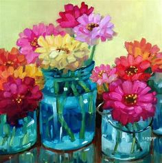 """Daily Paintworks - """"Happy Zinnias"""" - Original Fine Art for Sale - © Libby Anderson"""