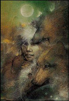 She's bone woman, the gatherer, La Loba. She collects bones, especially those of. She's bone woman Spirit Art, Wolf Spirit, Native Art, Native American Art, American Women, Art Visionnaire, Animal Spirit Guides, Animal Totems, Visionary Art