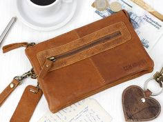 Leather Wristlet Clutch from Scaramanga's original and classic leather bag collections