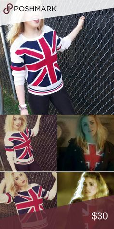 Union Jack Long Sleeved Sweater Union Jack Sweater, made and purchased in the United Kingdom is 50% cotton and 50% acrylic which gives this iconic symbol a wholly unique look. Looks stunning with jeans or mini-skirt. Like Rose Tyler, show your love for all things English with this iconic piece! Smart Girl Sweaters Crew & Scoop Necks
