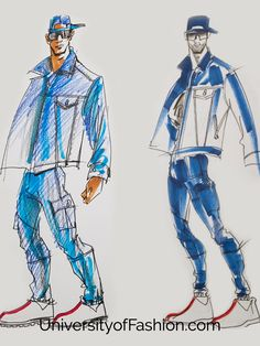 Learn how to draw and illustrate menswear at UniversityofFashion.com. College Fashion, School Fashion, Fashion Art, Mens Fashion, University Style, Arts Ed, Men Design, Learn To Draw, Figure Drawing