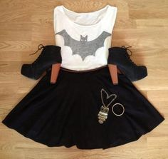 Buy batman shirt, high heels and skirt at Wish - Shopping Made Fun Geek Fashion, Cute Fashion, Womens Fashion, Lolita Fashion, Soft Grunge, Moda Geek, Skirt Outfits, Cute Outfits, Rock Outfits