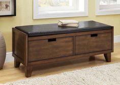 Banc fait de bois massif noyer foncé / Dark walnut solid wood bench
