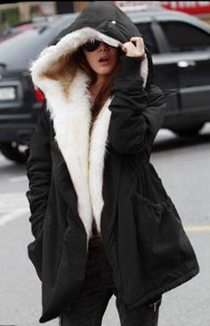 Thick Faux Fur Hooded Cotton Coat (More Colors Available)